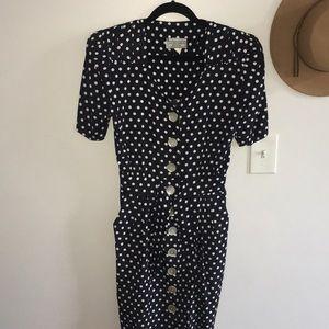 ED Michaels / Vintage Polka Dot Button Down Dress